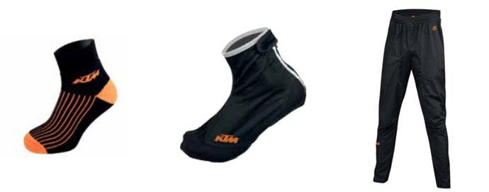 Skarpetki zimowe rowerowe KTM, ochraniacze na buty KTM, spodnie KTM